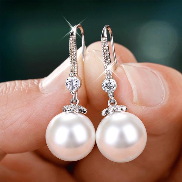 Sterling, DIAMOND, Love, Pearl Earrings