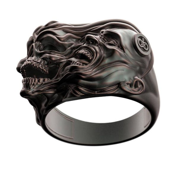 Sterling, Goth, wedding ring, skull