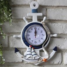 cartoonwallclock, mediterraneanstyleclock, Decor, boatsteeringwalldecor