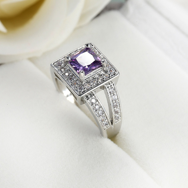Color Changing  Oval  Zircon Ring for Woman Purple Zircon Gold Plated Womens Silver Ring Woman 925 Silver Zircon Handmade Ring