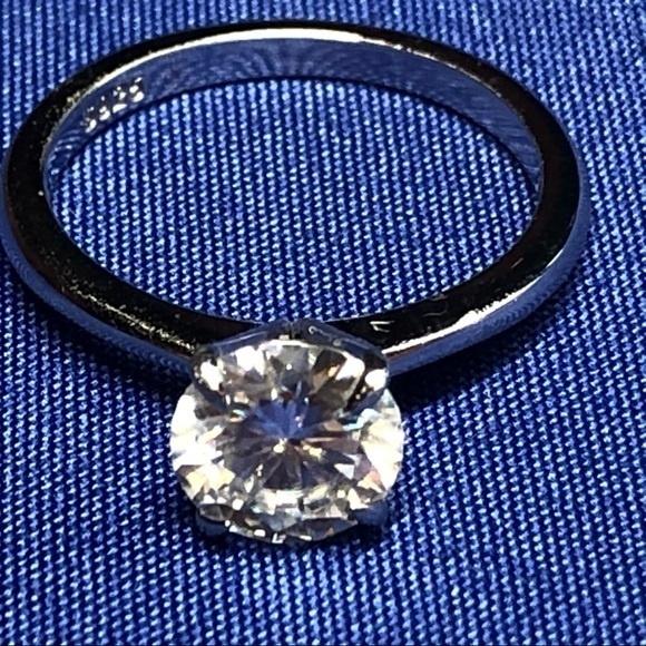 White Gold, DIAMOND, Princess, 925 silver rings