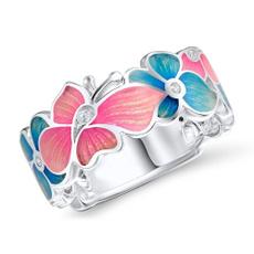 Blues, Sterling, Flowers, Women Ring