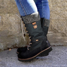 casualmidcalfboot, womenslowheelboot, Plus Size, Lace