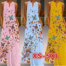 butterfly, Summer, Plus Size, neck dress