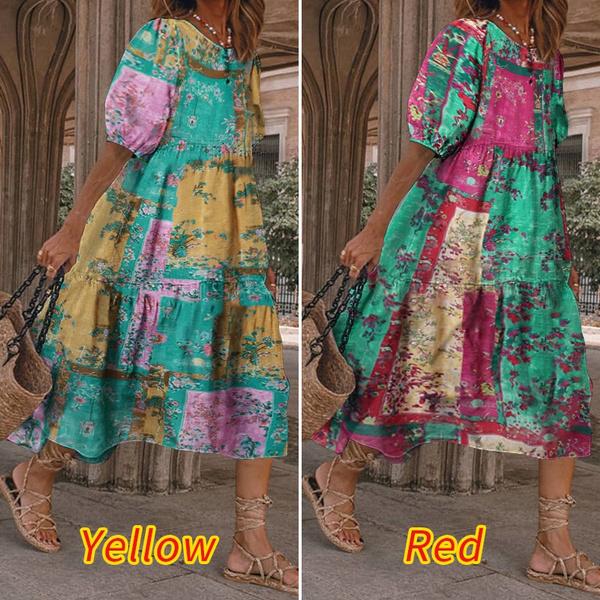 printeddres, long dress, plus size dress, Dress