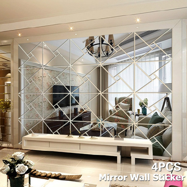Mirror Wall Sticker Diamonds Triangle Stickers DIY Mirror Wall Sticker Decor