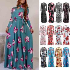 Plus Size, Floral print, Sleeve, Elegant