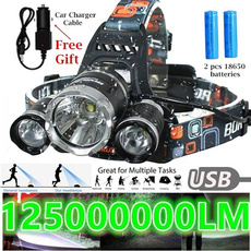 Flashlight, Head, LED Headlights, usb