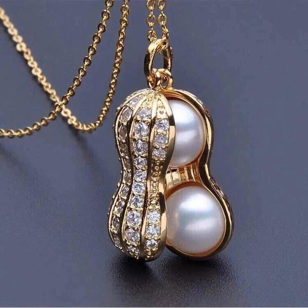 18k gold, Jewelry, peanutpendantnecklace, gold