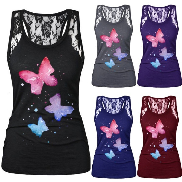 butterflyprint, tank top women, Vest, Fashion