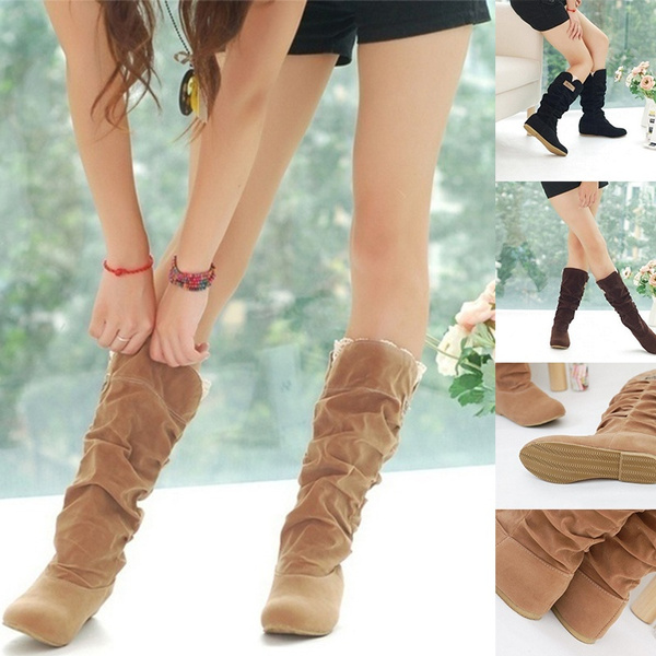Knee High Boots, midcalfboot, Lace, suedeboot
