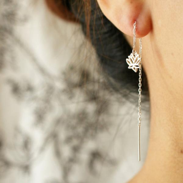 Sterling, earrings jewelry, Dangle Earring, lotusearring
