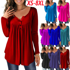 Womens Blouse, Pleated, topsamptshirt, V-neck