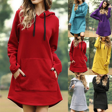 blouse, Pocket, loosedresse, hooded