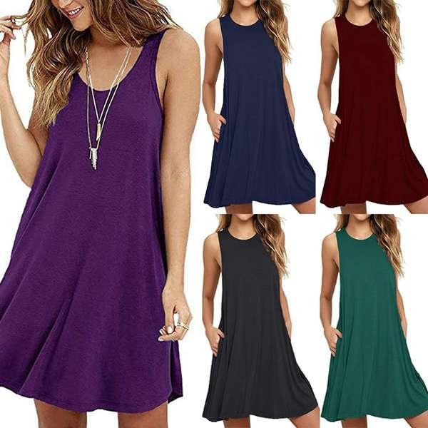 Summer, summer dress, Necks, solidcolordres