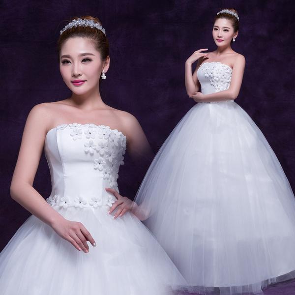 Plus Size, Tube top, Dress, flowersweddingdres