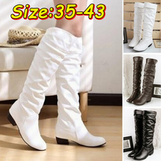 Knee High Boots, Plus Size, leather shoes, Womens Shoes