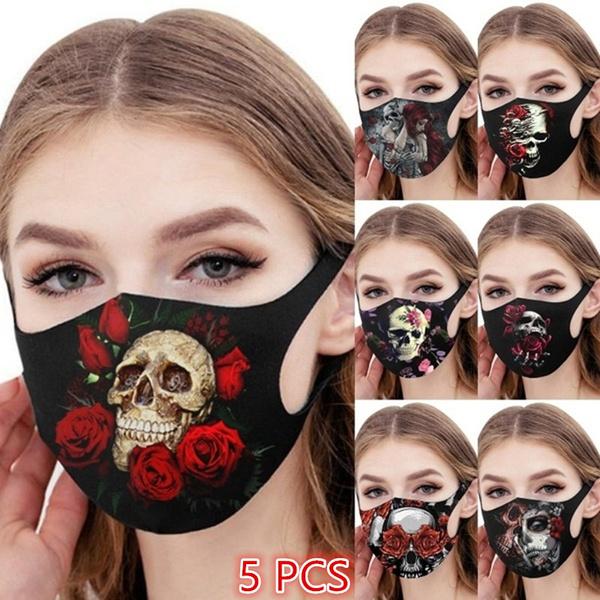 Fashion, mouthmask, roseprinted, skull