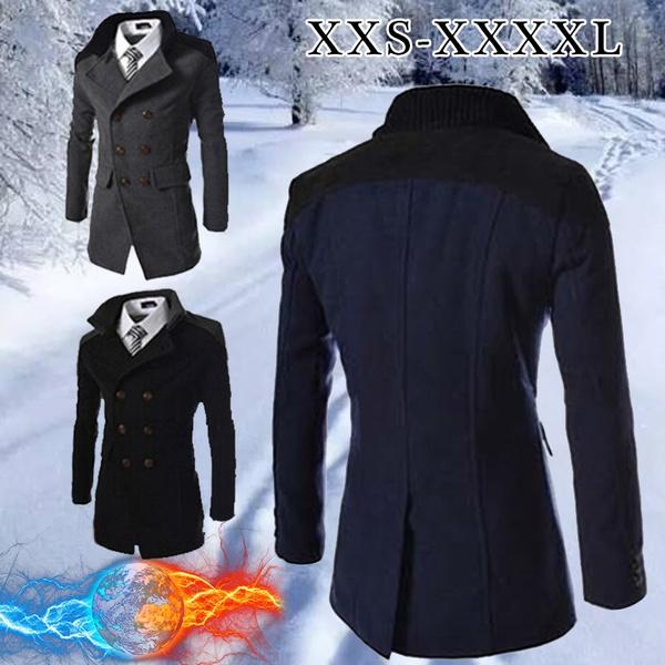 Men/'s Autumn Winter Woolen Coat Large Size Windbreaker Double-breasted Long