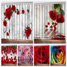 bedroomcurtain, Rose, Romantic, decorativewindowdrape