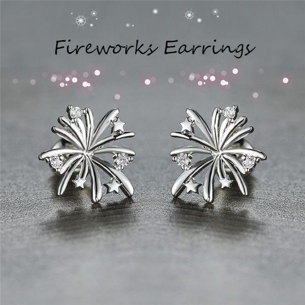 Sterling, DIAMOND, Stud Earring, wedding earrings