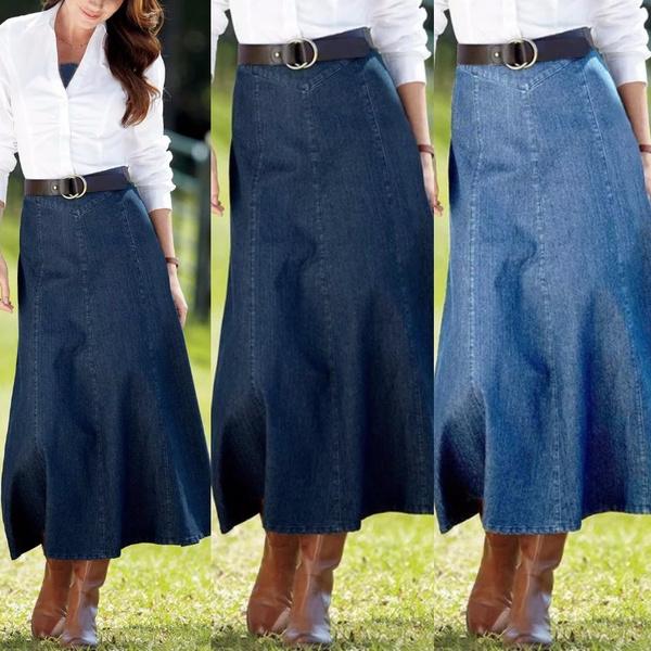 denim dress, skirtforwomen, long skirt, Fashion