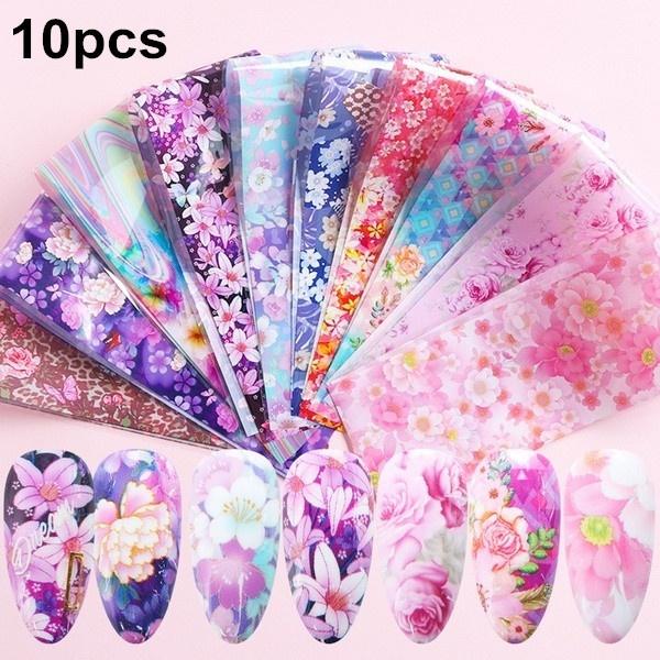 Nails, flowernaildecoration, art, nailfoilpaper