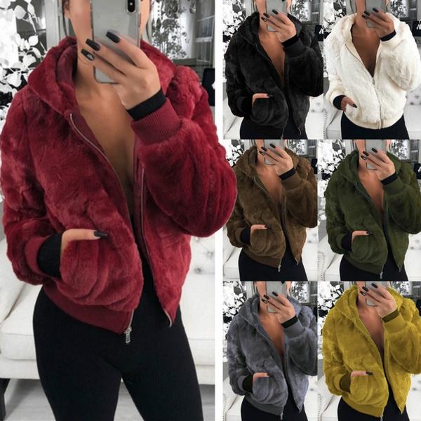 fur coat, Fleece, Winter Coat Women, fur