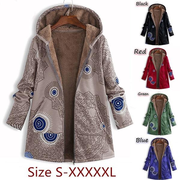 fur coat, Plus Size, Floral print, Vintage