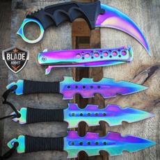 rainbow, pocketknife, kunaikn, foldingknife