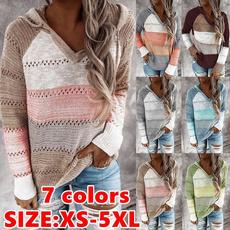 sleeve v-neck, stitchingcolorsweater, Fashion, Sleeve
