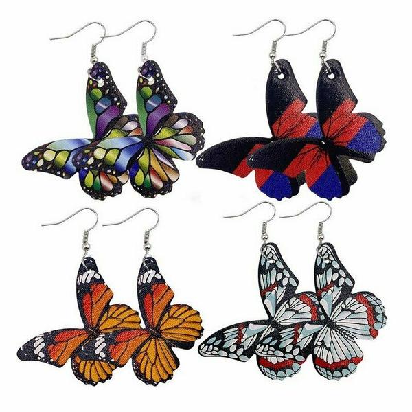 Jewelry Earrings Drop Leather Dangle Colorful Butterfly Fashion Hook Women