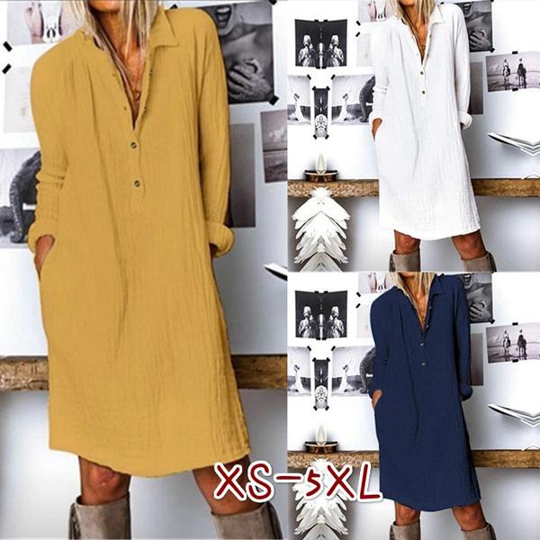 springdres, plaincolordres, Sleeve, turndownshirtdres