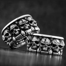 men_rings, biker, Jewelry, skull