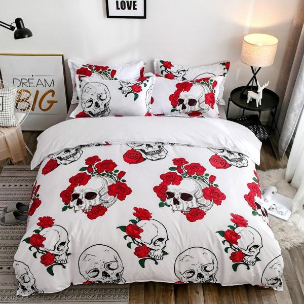 skullbedding, bedroomdecor, roseskullbeddingset, skull