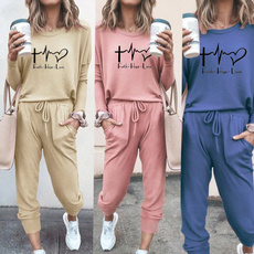 tracksuit for women, Fashion, Love, solidcolortop