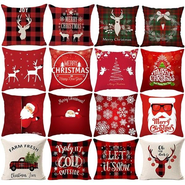 christmaspillowcase, case, Decor, plaid