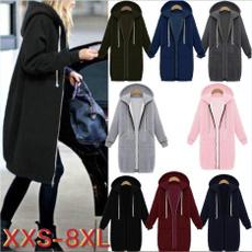 hoodedcoatsforwomen, Plus Size, Hoodies, Zip