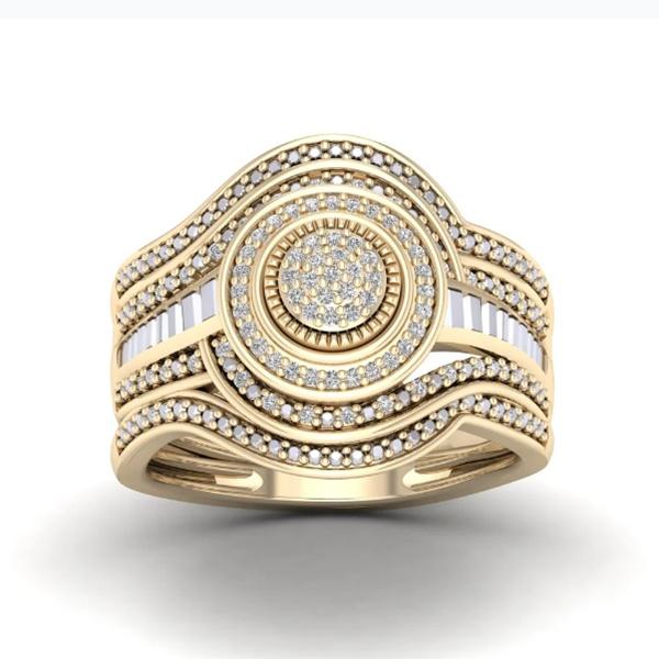 Engagement Wedding Ring Set, Bridal, gold, crystaljewelryset