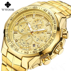 Chronograph, Fashion, Casual Watches, gold