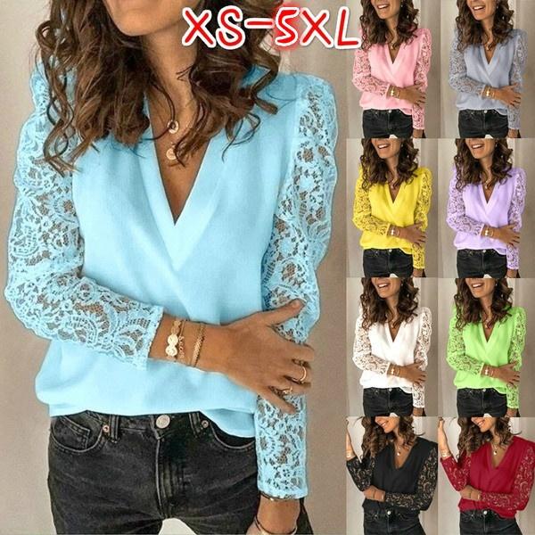 blouse, Tops & Tees, Deep V-Neck, Shirt