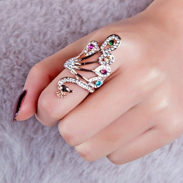 peacock, DIAMOND, Women Ring, Gifts