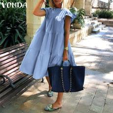 Summer, vestidoscasuale, Plus Size, cottonlinen