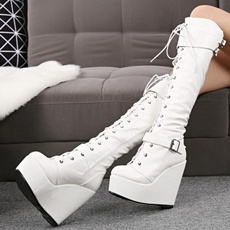 wedge, Winter, Knee High Boots, knight