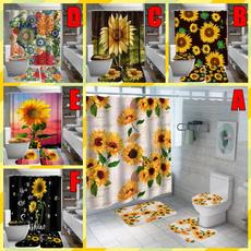 Shower, Bathroom, Sunflowers, toiletseatcushion