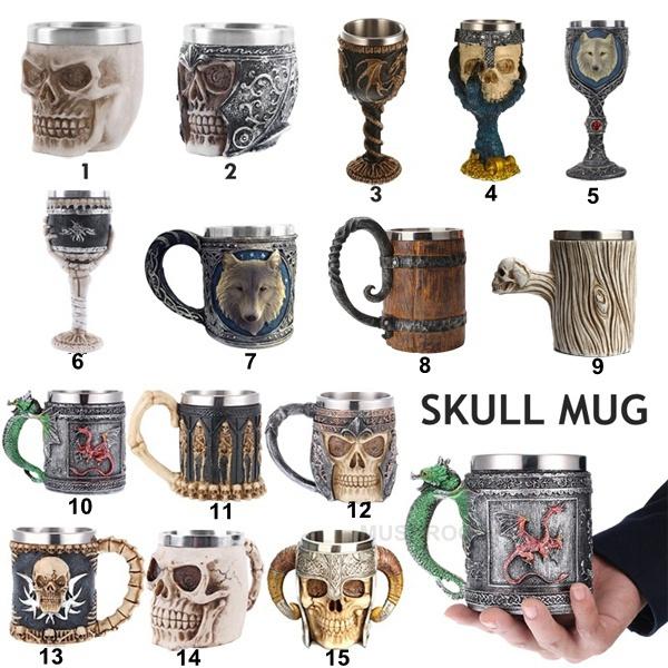 Goth, skull, beermugcup, beermug