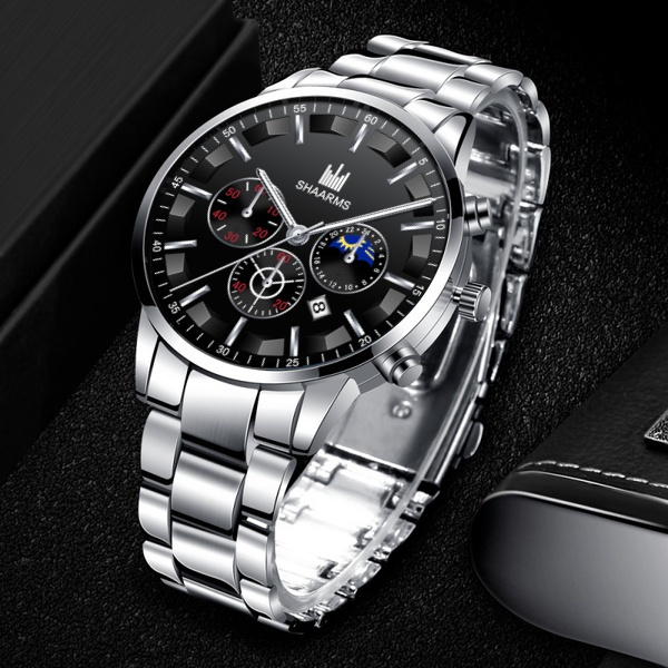 Steel, Fashion, business watch, Clock