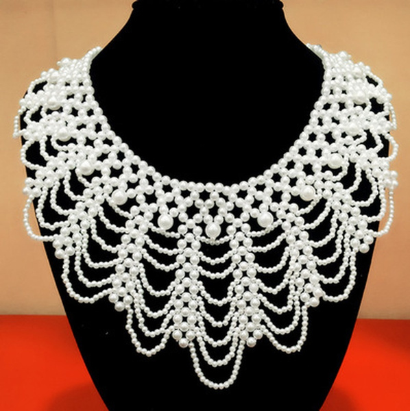 Lace, lace trim, Chain Necklace, Beaded