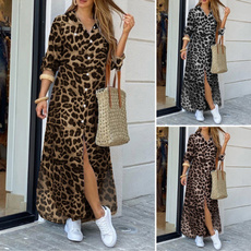 Fashion, leopard print, plus size dress, Dress