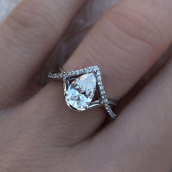 Beautiful, DIAMOND, wedding ring, 925 silver rings